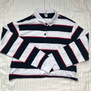 Garage White/Navy/Red Striped Polo Long Sleeve Top